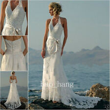 Bohemia Beach Wedding Dress Halter Backless Bridal Gown White Ivory Hippie Style