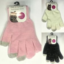 New Womens Ladys' Knitted Gloves w Lurex Touch Pink Black White Fashion Gloves
