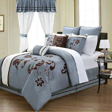 24pc blue brown floral pattern bed in a bag matching curtain valance set