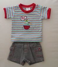 6m 12m 18m 24m Baby Boys T-Shirt Shorts Summer Outfit Clothes Parrot Ship Red