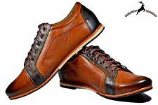 Mens Genuine Buffalo Leather Sports Sneakers Shoes Lace Up Boots Casual Fashion