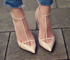ZARA Cut out POINTED ANKLE STRAP T Bar Nude HEELS Patent Leather 6 10 8 36 39 41
