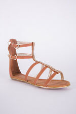 Ladies Brown Zipped Diamante Gladiator Sandal - Strap Sandals T-Bar BNIB