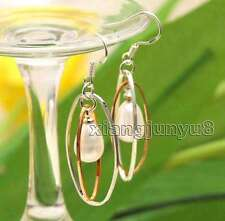 SALE Big 8-10mm White Drop Natural pearl and Double Oval Hoop Dangle Earring-495