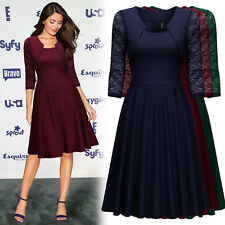 Women's Vintage 1950s Lace Cocktail Evening Party Business Work OL Swing Dresses