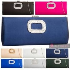 LADIES NEW CRYSTAL EMBELLISHMENT CHAIN SATIN PARTY EVENING CLUTCH HANDBAG