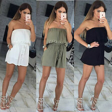 Womens Holiday Casual Mini Playsuit Ladies Jumpsuit Summer Beach Dress Size 6-18