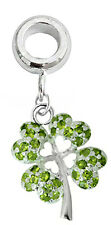 Silver Clover Leaf Charm Fits Euro Brand Bracelet and Necklace - FREE Velvet Bag