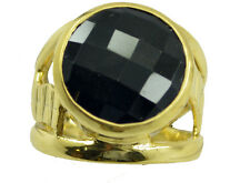 Black Onyx Gold Plated Ring captivating Black handcrafted AU K,M,O,Q