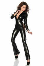Sexy Jumpsuit Imitation Leather Lacing Catsuit Fetish Dominatrix Erotic