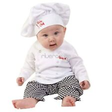Baby Boy Girl Chef Cook Party Costume Fancy Dress Long Sleeve Outfit Hats Set