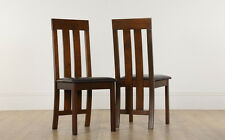2 4 6 8 Chester Dark Finish and Leather Dining Room Chairs (Brown Seat Pad)