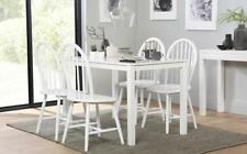 Milton & Windsor White Dining Table and 4 6 Chairs Set