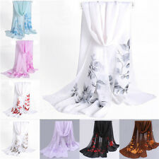 New Women Floral Chiffon Soft Neck Scarf Shawl Scarves Long Stole Wraps Fashion