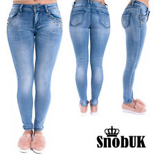 WOMENS RIPPED JEANS SKINNY  STUDDED POCKETS DENIM LADIES JEGGINGS 6/8/10/12/14