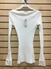 James Perse wmr3043 SZ 3, 2 white long sleeve ribbed shirt 100% cotton