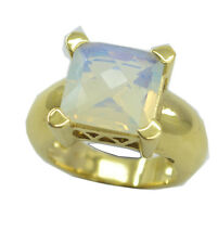 Fire Opal CZ Gold Plated Ring grand White gemstones AU K,M,O,Q