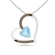 """Aquamarine Tilted Heart Pendant Necklace with Coffee Diamonds 14k gold 18"""" Chain"""