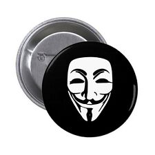 Anonymous Guy Fawkes Mask Pin / Button Badge 25mm, 38mm, 45mm, 58mm, 77mm