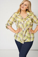 Casual Checked Ladies Shirt Blouse Front Pockets Roll Up Sleeves Sizes 16-32 New