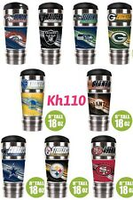 NFL Team Insulated Hot/Cold Stainless Steel Travel Tumbler w/Metalic Logo 18Oz