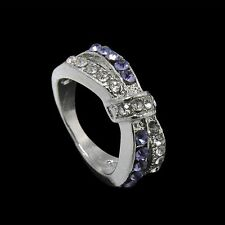 Cross Crystal Purple Amethyst Jewelry Rings 6-10 Size Ring White Gold Filled