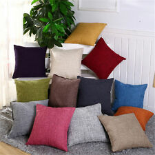 2PCS Cotton Linen Throw Pillow cover Solid color Cushion Covers 18x18 pillowcase