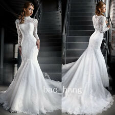 White Lace Long Sleeve Muslim Wedding Dress Mermaid High Neck Bridal Gown Arabic