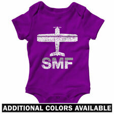 Fly Sacramento SMF Airport One Piece - Baby Infant Creeper Romper NB-24M - Plane