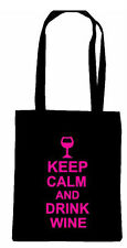KEEP CALM AND DRINK WINE CARRY ON SHOPPING TOTE BAG FUN BIRTHDAY GIFT BOOZE BEER