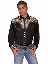 Scully Mens Embroidered Western Shirt Snap Perl Gold Black P-634
