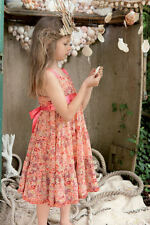 6/7 8/9 10/11 I lOVE GORGEOUS CORAL PINK CHIFFON GIRLS FLORAL FESTIVAL DRESS