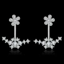 18K Rose Gold Filled GP Swarovski Crystal Zircon Double Flower Stud Drop Earring