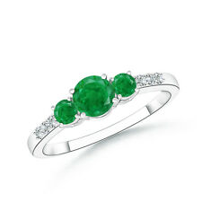Three Stone Round Natural Emerald Ring with Diamond Accents in 14k White Gold