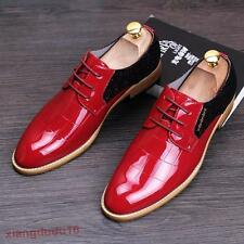 Mens Dress formal Business Faux patent leather Chunky heel Wedding Lace-up Shoes