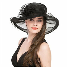 Kentucky Derby Church Hat Women Summer Wide Brim Beach Sun Hat Tea Party Cap