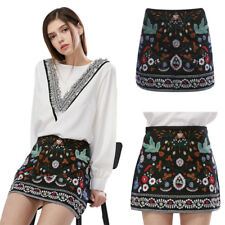 Women Boho Skirt High Waist Bodycon Floral Embroidered Pencil Skirt Short Mini