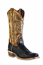 Outlaw Black Mens Ostrich Print Leather Tan Cowboy Western Boots