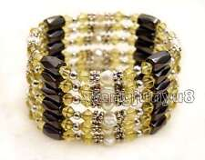 SALE 4-5mm White Natural Pearl with Yellow Crystal & Hematite 36'' Bracelet-363