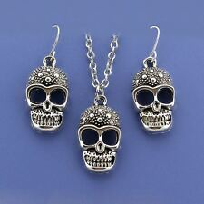 New Fashion  Silver Tone Skull Women Jewelry Earring Pendant Necklace