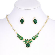 Women Flower Necklace Stud Earring Green CZ Crystal jewelery sets