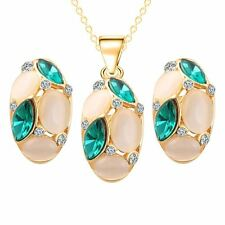 Lovely Opal Jewelry Pendant Necklace Earrings Set Gold Plated Long Chain