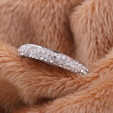 Full Size Three Row Crystal Stainless Steel Wedding Women Ring