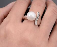 Simulated Diamond Pearl Ring Plated Open Finger Ring For Women