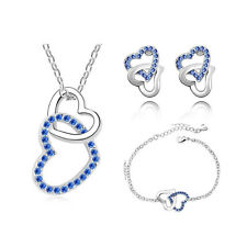 Women Crystal Rhinestones Heart Shape Pendant Necklace Bracelet Earring Set
