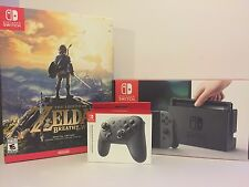 BRAND NEW Nintendo Switch Gray Joy-Con Bundle with Pro Controller and Zelda Game