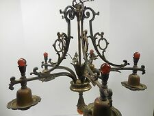 VINTAGE UNUSUAL BRASS 5 LIGHT CHANDELIER W AMBER GLASS