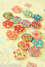 Flowers Wood Buttons Craft Ideas DIY zakka assorted sewing notions scrapbooking