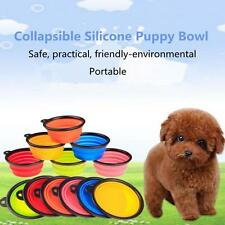 Foldable Dog Feeder Container Silicone Food Bowl Collapsible Portable Puppy Bowl