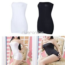 SEXY LADY STRAPLESS LONG TUBE SEAMLESS TOP DRESS STRETCH MINI SLIM FIT CLUEWEAR